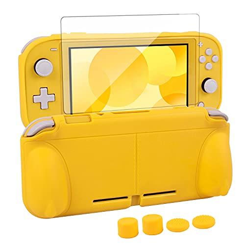 CHIN FAI Funda Protectora para Nintendo Switch Lite, Funda Protectora rígida de TPU con Protector de Pantalla de Vidrio Templado [Soporte automático] [4 Tapas de Palanca para el Pulgar]-Amarillo