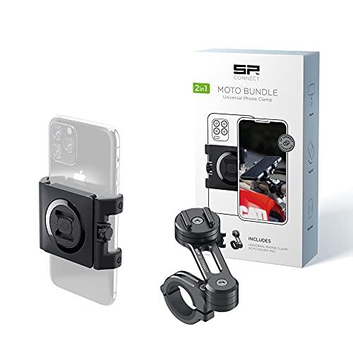 SP Connect Support Universel de Téléphone Portable pour Moto - Support Smartphone pour Moto & Cyclomoteur - Prise Pince Solide - Appareils 58-85mm, Guidons Standard & Grands - Accessoire Motards