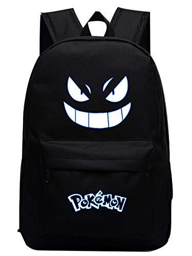 Pokemon Rucksack mit leuchtenden Augen, Pokemon Tasche für Jungen und Mädchen, Pokemon Rucksack Schultasche Travel Daypack