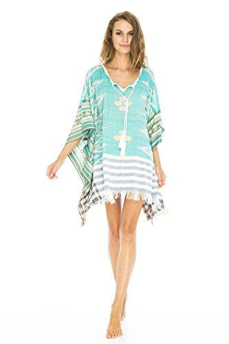 Rückseite aus Bali Damen Baumwolle Schnitt Woven Badeanzug Cover Up Tunika Strand Kleid, Green Ikat, OneSize