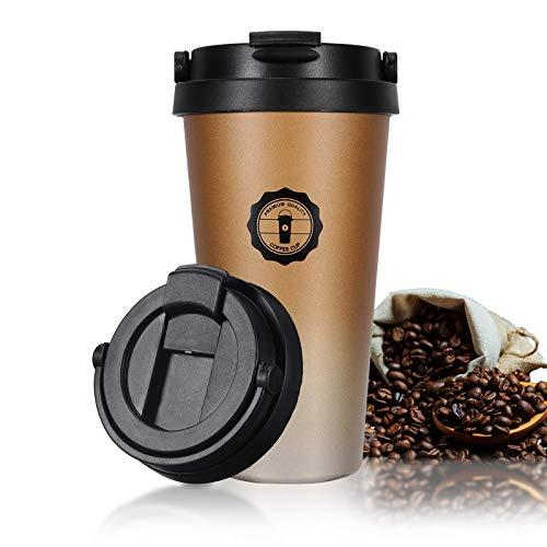 Jovego Reisebecher, 500ML Edelstahl Thermobecher, Travel Mug Isolierbecher hält 10h heiß/12h kalt, Edelstahl Vakuumisoliert Tasse auslaufsicher für Kaffee oder Bier Thermosflasche,BPA Frei(Gold)