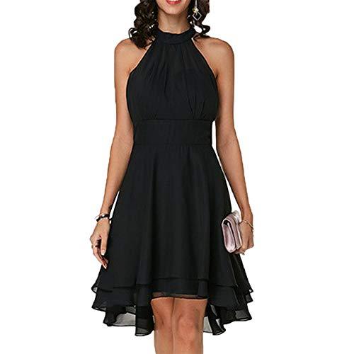 FLORYDAY Damen Kleid mit Bügel und Cocktailrock, Schwarz M