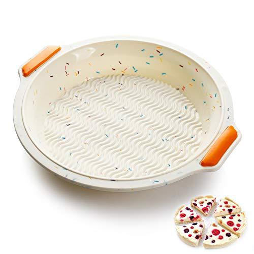 SveBake Rundform aus Silikon mit Metallverstärkungsrahmen Ø 26 cm - Antihaft Quiche Kuchenform und Obstkuchenform Flexibel, Tartes-Backform, Tortenbodenform - Beige