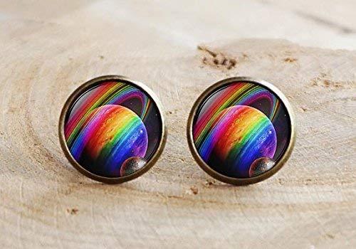 Pendientes de arcoíris con diseño de orgullo gay, joyas arcoíris de arcoíris, planeta espacial