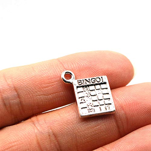 MT 2007 Alloy Charms, Silver Tone Handmade Supply Charms, Handmade Craft, Handmade Jewelry Supply (50PCS JHS235 Bingo Charms)