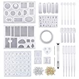 Crafting Silicone Casting Molds and Tools Set, 229 Pieces Jewelry Casting Moulds Tools Set Silicone Resin Kit for DIY Jewelry Bracelet Keychain Craft Making Stencils Assorted Shape