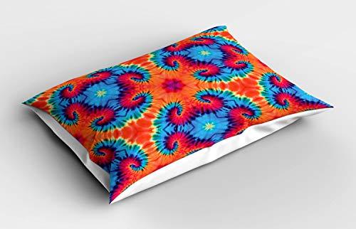 ABAKUHAUS Ikat Funda de Almohada, Motif Naranja y Azul Colorido, Decorativa de Suave Microfibra Estampada Lavable, 80 cm x 40 cm, Naranja y Azul