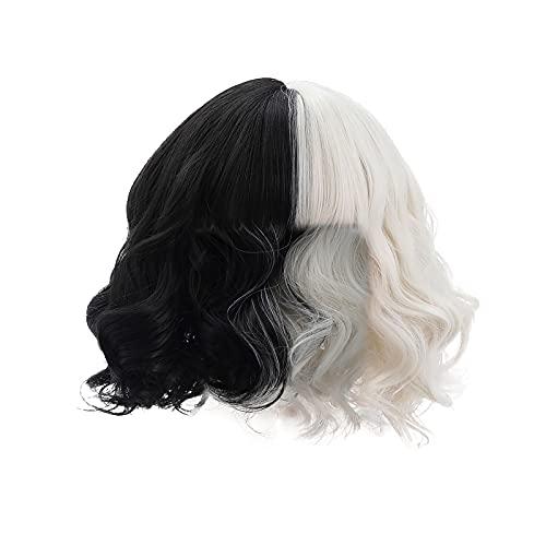 bestheart Short Wave Headband Wig,Cruella Cosplay Wig,Natural Looking Wavy Synthetic Wig