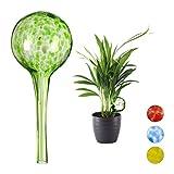 relaxdays set di 2 sfere per irrigazione, per piante e fiori, innaffiatori per ufficio, vacanza, Ø 6cm, vetro, verde, 15.00 x 6.00 x 6.00 cm