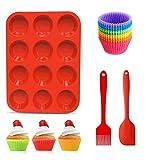 Vassoio riutilizzabile per muffin in silicone con 12 pirottini, 1 spatola in silicone e 1 pennello per olio, teglia per cupcake a 12 cavità antiaderente
