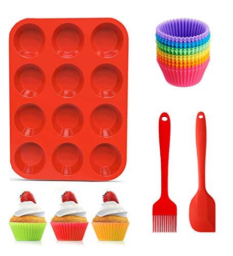12 wiederverwendbare Muffin-Backform aus Silikon und Cupcake-Backblech-Set mit 12 Muffinförmchen, 1 Silikonspatel und 1 Ölpinsel, Silikon-Muffinblech, Antihaft-Backform