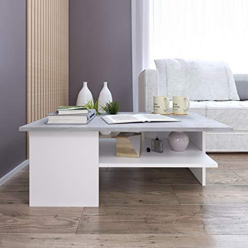GLmeble - Couchtisch für das Wohnzimmer, Hochwertiges, Modernes Design Couchtische für die Einrichtung von Heimbüros (Beton - Weiß, Typ 3)
