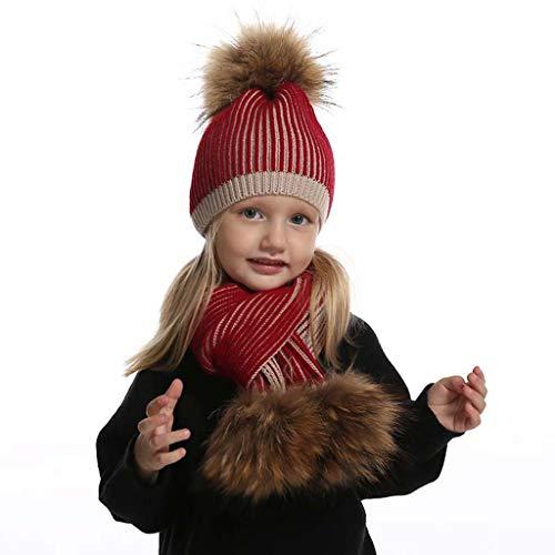 SPNEC Sombrero de Invierno para niñas Boys Real Pompom Kids Sombrero y Bufanda Set Skullies Skullies (Color : A)