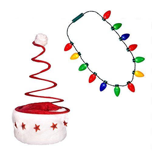 Windy City Novelties Holiday Christmas Santa Hat + LED Christmas Bulb Necklace Ugly Sweater Party Kit (LED Spring Hat + Necklace)