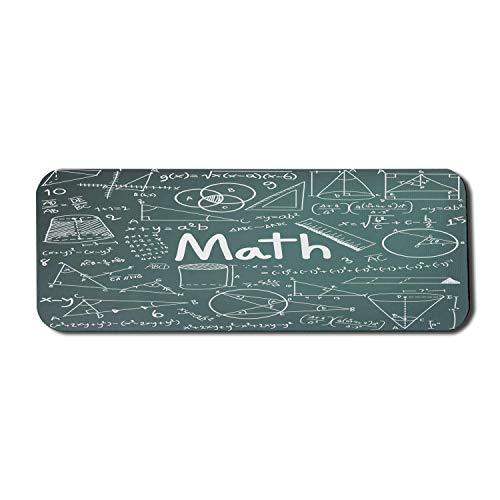 Alfombrilla de ratón de ordenador para el aula de matemáticas, tablero escolar lleno de dibujos, fórmulas, formas, teoría, lección de matemáticas, palabra, rectángulo, alfombrilla de goma antideslizan