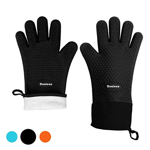 Dualeco Silicone Oven Gloves - Heat Resistant Grill BBQ Gloves with Fingers Waterproof Non Slip Oven Mitts Kitchen Cooking Gloves for Baking, Grilling, Barbeque, Black