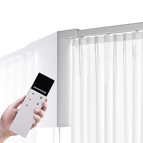 """Electric Motors Curtain Rod, Smart Curtains System with Remote or WiFi Control, Adjustable Drape Rod for Alexa and Google Assistant, Curtain Rail for Sliding Door Bedroom Living Room (70""""-118"""" Width)"""