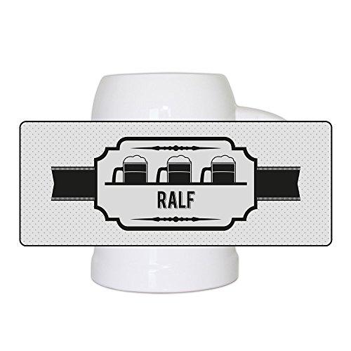 Bierkrug mit Namen Ralf und schönem Bieretikett-Motiv | Bier-Humpen | Bier-Seidel für Männer