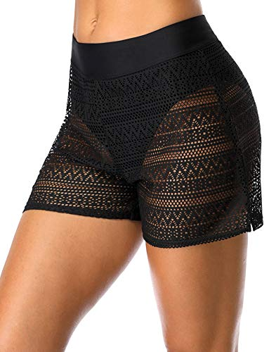 ATTRACO Womens Lace Hollow Out Swimsuit Tankini Bottom Swim Board Shorts Black L