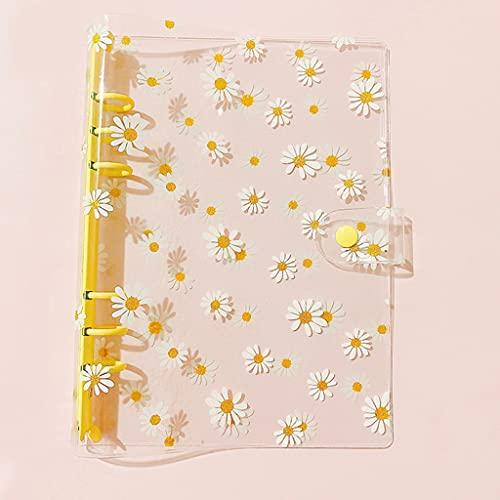 ZHINTE Notebook Carpeta de Flor Linda a6 Carpeta Transparente de 6 Anillos Abrazadera de botón a6 Carpeta de planificador Personal Carpeta de Cuaderno de Hojas Sueltas