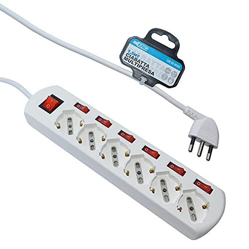 Multipresa ciabatta elettrica 6 Posti 10/16A Bipasso Schuko 250V Max:2500W con interruttori indipendenti 1,5MT [Classe di efficienza energetica A++] - echoENG