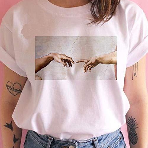 hjkg Camiseta T-Shirt,Camiseta con Estampado De Manos De Miguel Ángel Moda Ropa Deportiva Vibrante Streetwear Personalizado Cuello Redondo Redondo Tops De Manga Corta Camiseta Unisex Mujer Mujer, XS