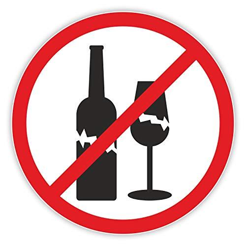 Glasverbot Aufkleber I rund Ø 20 cm I Benutzung von Glas-Flaschen Glasbehälter verboten I Verbotszeichen Verbots-Aufkleber Piktogramm I hin_309