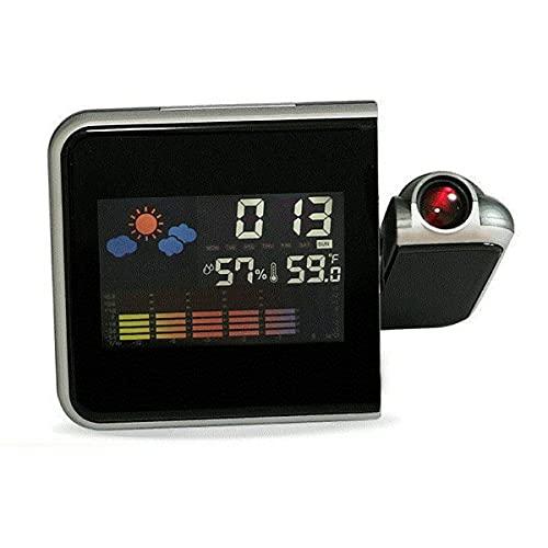 healthwen Reloj Despertador de proyección Digital LED Colorido, termómetro de Temperatura, higrómetro de Humedad, Reloj de proyector de Tiempo de Escritorio