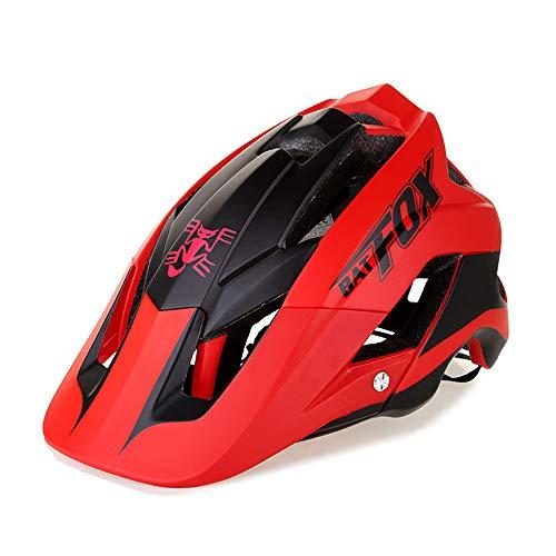 OMGPFR Casco De Bicicleta De Montaña para Adultos, 14 Venteo Absorción Absorción De Impactos PC Resistente A Los Golpes Casco De Bicicleta De Montaña Deportiva,Rojo