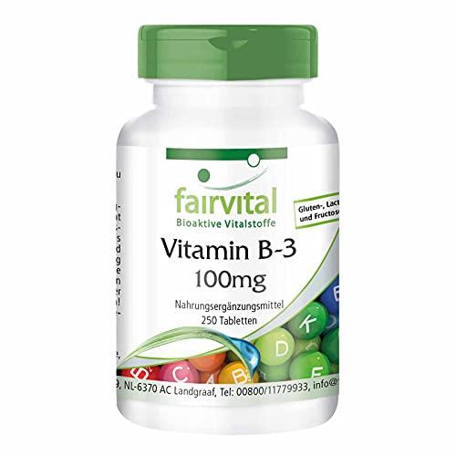 Vitamina B3 100mg - Niacina Flush Free - No ruborizante - Nicotinamida - VEGANA - Dosis elevada - 250 Comprimidos - Calidad Alemana