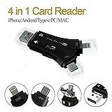 Lecteur de Carte 4 en 1 en Forme de Y 8 Broches/Micro USB/Port Type-C TF/SD pour...