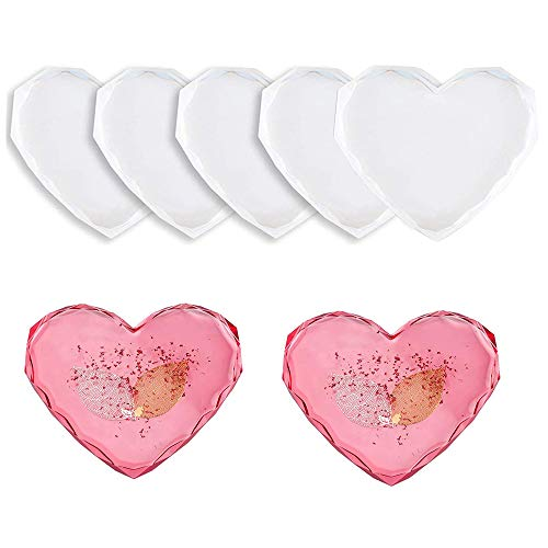 5Pcs Silicone Coaster Moulds for Resin Cup Mats Mould Epoxy Casting Moulds Diamond Edge Heart Coaster Molds for Epoxy Resin