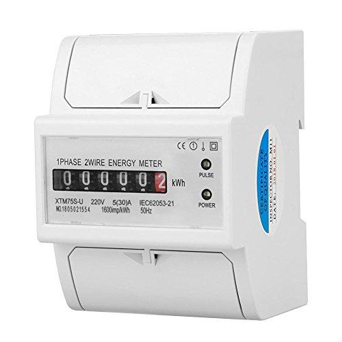 220 V DIN-Schiene Stromzähler, Digital 1 Phase Stromzähler 2 Draht 4 P, XTM75S-U Stromzähler KWh Meter(5(30) A)