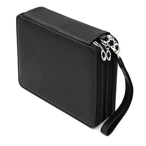 Sumnacon 120 PU cuir Trousse de crayon, sac de crayon pour Dessinateur Professionnelle ou Amateur (Noir)