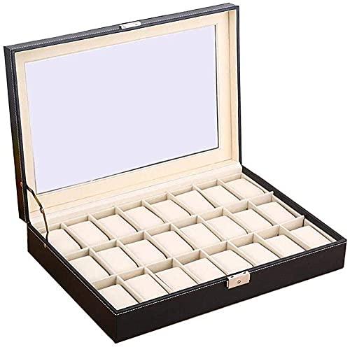 Caja de Reloj de 24 Rejillas, Caja de Cuero de imitación, Soporte de exhibición, Almacenamiento de Joyas, Caja de Regalo con Tapa de Vidrio para Hombres y Mujeres