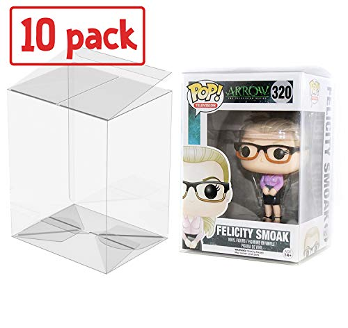 PLAYOLY Pop Protector Case for Funko - 4' Inch Pop! Vinyl Figures, Strong Pop Protectors, Crystal Clear, Heavy Duty Acid Free w/ Protective Film Lot of 10