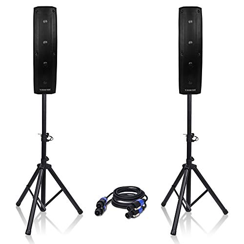 "Sound Town Passive Mini Line Array Column Speaker System CARPO-V4 with Two 500W 4 X 4"" Column Speakers, Stands and 9 Feet Audio Cables"