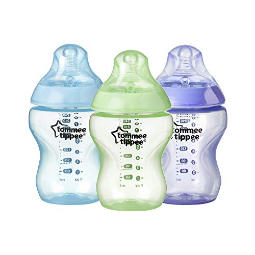 Tommee Tippee 42241650 Biberones Closer to Nature, 260 ml, 3 Unidades, Colores Surtidos