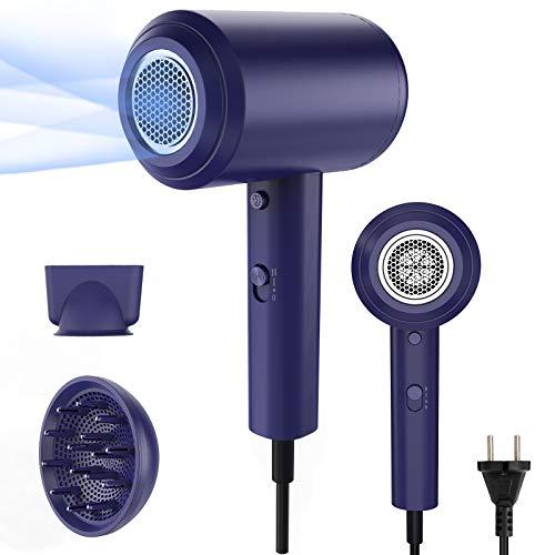 REEXBON secador pelo profesional , secador de pelo ionico 1800W , Secador de pelo con boquilla concentradora de aire y difusor , 2 velocidades y 3 temperaturas, Botón de temperatura