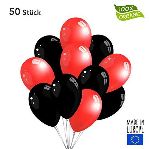 50 Premium Luftballons in Schwarz/Rot - Made in EU - 100% Naturlatex somit 100% giftfrei und 100% biologisch abbaubar - Geburtstag Party Hochzeit Silvester Karneval - für Helium geeignet - twist4®