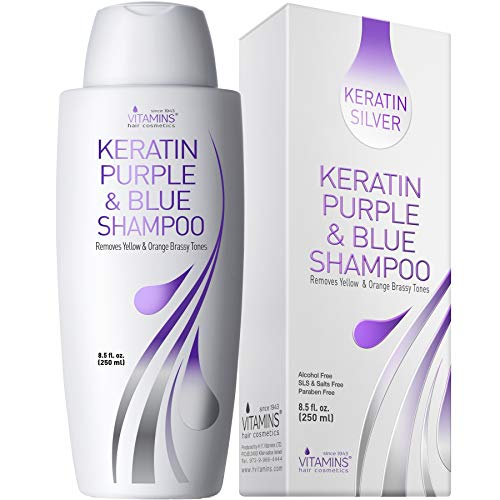 Vitamins Keratin Purple Toning Shampoo - Violet Blue Brassiness Toner for Bleached Icy Blonde Platinum Silver White Grey Ash Gray or Colored Dry Damaged Brassy Hair