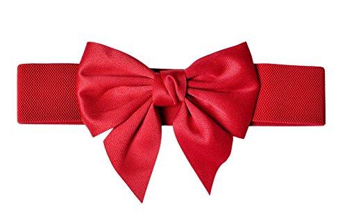 TeeYee Damen Mädchen Fashion und Groß Schleife Decor Elastische Tailleband Breiter Gürtel (L, rot)