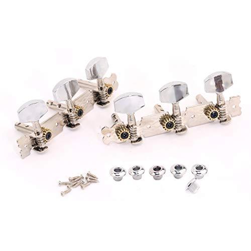 Musiclily 3+3 Clavijas de Afinación Clavijero de Repuesto para Guitarra Acústica, Boton Metal Niquel