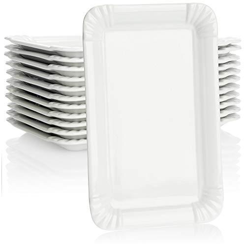 COM-FOUR 12 platos de porcelana noble - platos de postre en blanco - platos de servir con diseño de tazón de patatas fritas - 20,5 x 13,5 cm (12 piezas - plano)
