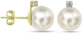 Cultured Freshwater White Pearl Stud Earrings Diamond Jewelry for Women 1/50 CTTW in 14k Gold (G-H, SI1-SI2) - Choice of Pearl Sizes
