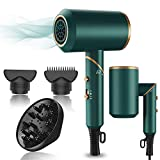 Hair Dryer,1800W Professional Ionic Hair Dryer with Diffuser and Nozzles, Powerful Blow Dryer for Fast Drying,Compact & Lightweight Travel Portable Hair Dryer for Women