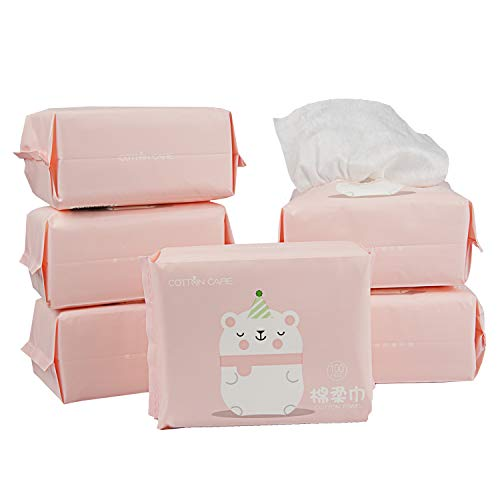 COTTONCARE Baby Dry Wipe,100% Cotton,dry wipe cotton tissues,baby sensitive skin,taking care of baby skin,6-Pack (600 Count)