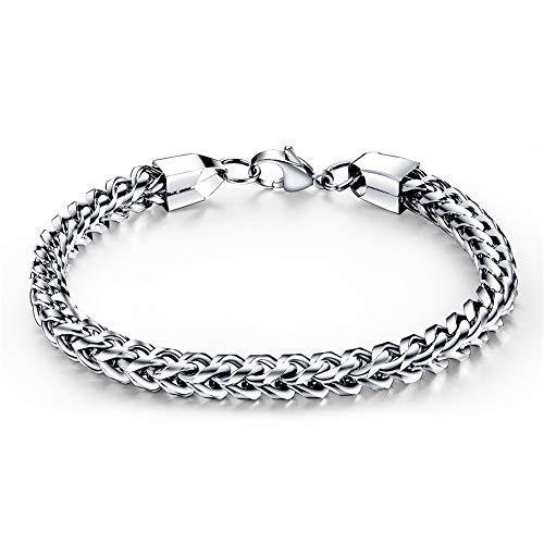 WANGLXTC Titanium stalen armband, heren roestvrij staal punk armband mode heren sieraden sieraden met geschenkdoos, zilver