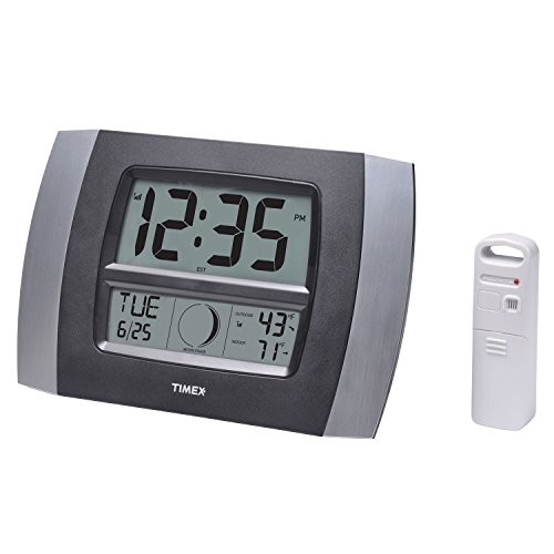 """Timex 75331T Atomic Digital Clock with Temperature, Moon Phase & Calendar, 11.5"""",Silver and Black"""
