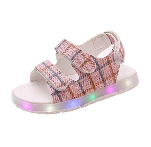 Jimmackey Sandali da Bambina Sandali da Spiaggia con Fiocco Morbido Bottoni Morbidi Cava LED Leggeri Scarpe da Passeggio per Bambini Nice Princess Shoes